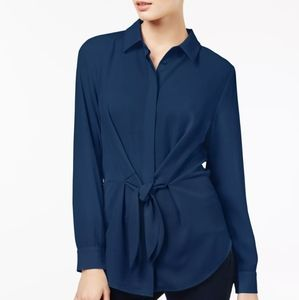 NWT! INC Internation Deep Twilight Front Tie Shirt